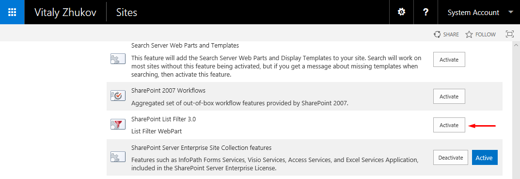 SharePoint List Filter 3.0 Feature